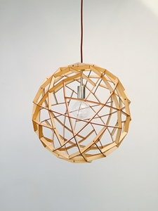 Picture of Geogro 1 Light Wood Veneer Pendant Fiorentino Lighting