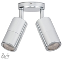 Picture of Exterior Silver Coloured Aluminium 12V Double Adjustable Wall Pillar Light With 10W LED Globes (HV1367MR16) Havit Lighting
