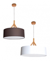 Picture of ANNEX - Fabric Drum Pendants - Wood Look Tops in 50cm (0243-Italux) V & M Imports