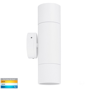 Picture of Exterior White 240V Up/Down Wall Pillar Light With LED Globes (HV1037GU10T) Havit Lighting