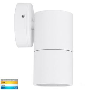 Picture of Exterior White 240V Single Fixed Wall Pillar Light With LED Globe (HV1137GU10T) Havit Lighting