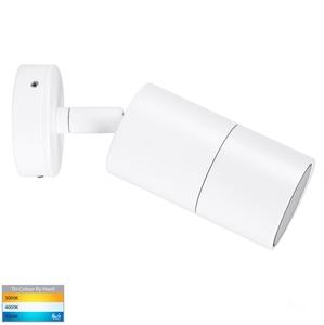 Picture of Exterior White 240V Single Adjustable Wall Pillar Light With LED Globe (HV1237GU10T) Havit Lighting