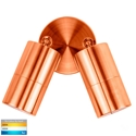 Picture of Exterior Solid Copper 240V Double Adjustable Wall Pillar Light With LED Globes (HV1315T) Havit Lighting