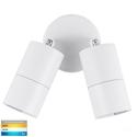 Picture of Exterior White 240V Double Adjustable Wall Pillar Light With LED Globes (HV1337GU10T) Havit Lighting