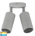 Picture of Exterior Silver 240V Double Adjustable Wall Pillar Light With LED Globes (HV1347GU10T) Havit Lighting