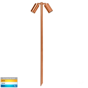 Picture of Tivah Exterior Solid Copper12V Double Adjustable 1000mm Spike Spotlight With LED Globes (HV1405T-CP) Havit Lighting