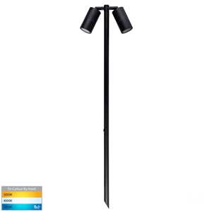 Picture of Tivah Exterior Double Black Aluminium 12V Adjustable 1M Spike Spotlight With LED Globes (HV1425T) Havit Lighting